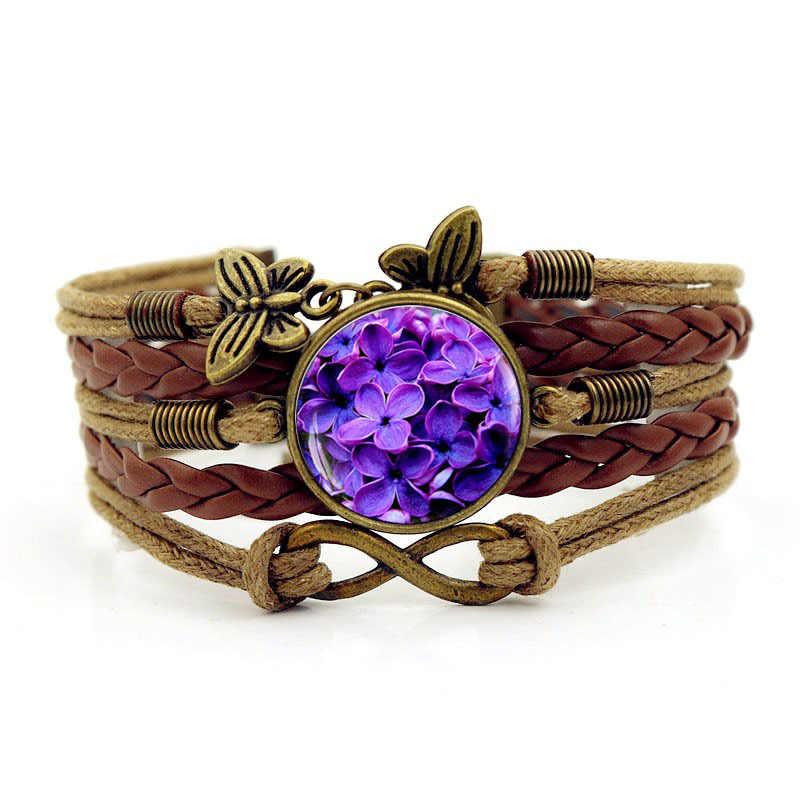 Diy винтажная распродажа 2018 новый фиолетовый цветок лепестки время драгоценный камень тканый браслет мужские модные кожаные браслеты для женщин ювелирные изделия