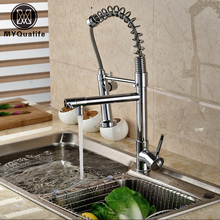 Wholesale And Retail Single Lever Spring Pull Down Kitchen Sink Faucet Dual Sprayer Hot And Cold Kitchen Mixer Taps