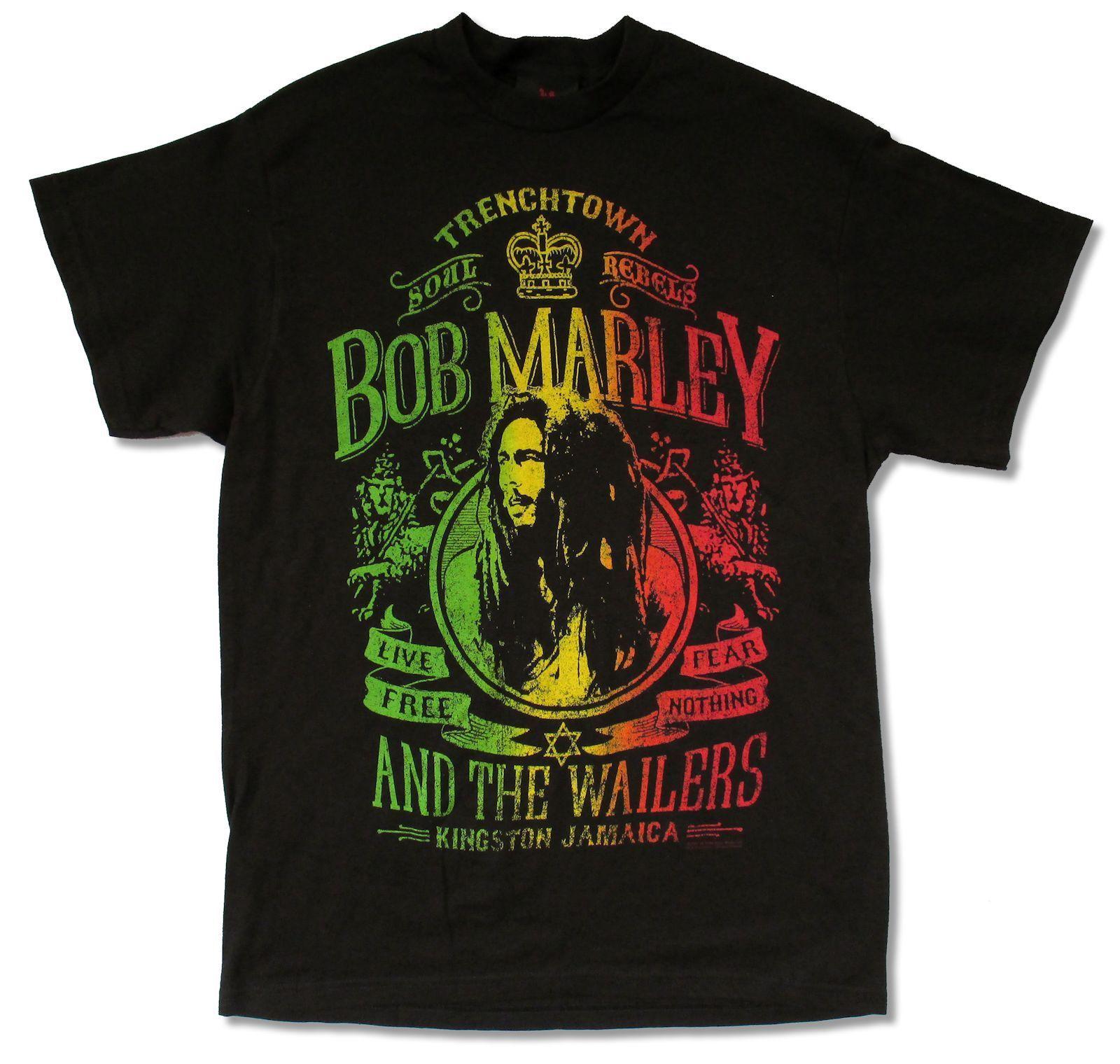 Design t shirt reggae - Bob Marley Live Free Schwarz T Shirt Neue Offizielle Erwachsene Reggae Wailers Jamaika