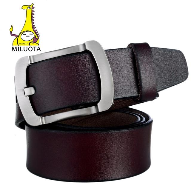 [MILUOTA] Fashion 100% genuine Leather belts for men high quality Metal buckle cowhide ceinture Luxury belt Men bt1330