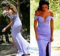 Sexy Fuera del Hombro de la Lila de La Sirena Vestidos de Baile 2017 de La Sirena Vestidos de Noche Robe De Soirée de Alta Dividir Side Vestido de Fiesta
