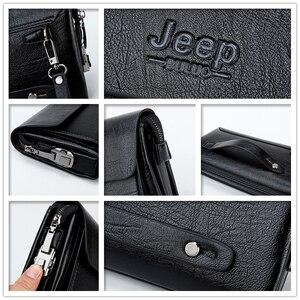 Image 4 - ジープbuluo有名なブランド男性のハンドバッグ日クラッチバッグ高級電話とペン高品質革の財布をこぼしハンドバッグ