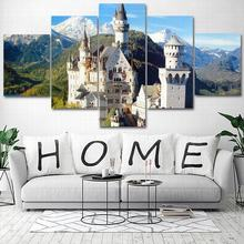 5 Piece Wall Art pictures Canvas poster prints Oil Painting Germany Neuschwanstein Castle architecture for livingroom framed