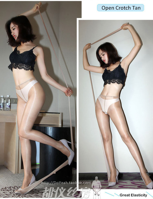 1D Oil Shine Close or Open Crotch Non-falling Pantyhose Sheer To Waist-  Sandal Toe DOYEAH 0258 1