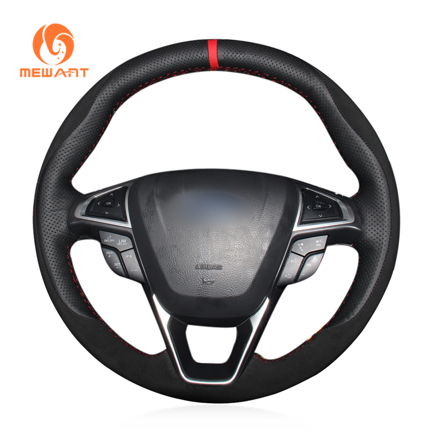 MEWANT Black Genuine Leather Black Suede Car Steering Wheel Cover for Ford Fusion Mondeo 2013 2014 EDGE 2015 2016 цена