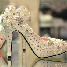 Spring and autumn fashion women Party Prom Dress Shoes Lace 4 Inches heel platform high-heeled Satin White Wedding Shoes