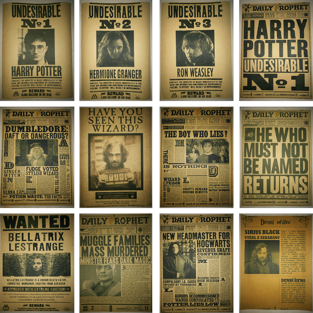 Vintage Posters Harry Potter Wanted Daily Prophet Retro Kraft Paper Prints Good Quality Home Wall Decoration