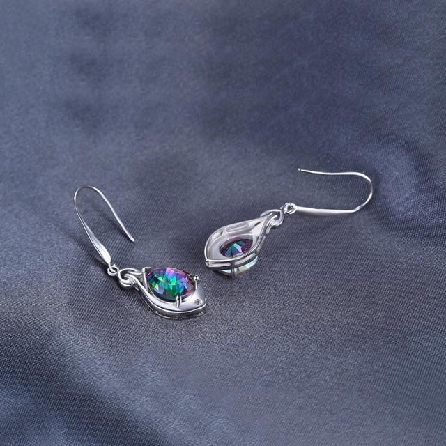 Rainbow Dangle Topaz Earrings