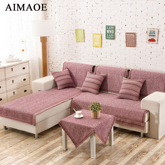 Plain fashion cotton thickening slip resistant fabric leather sofa ...