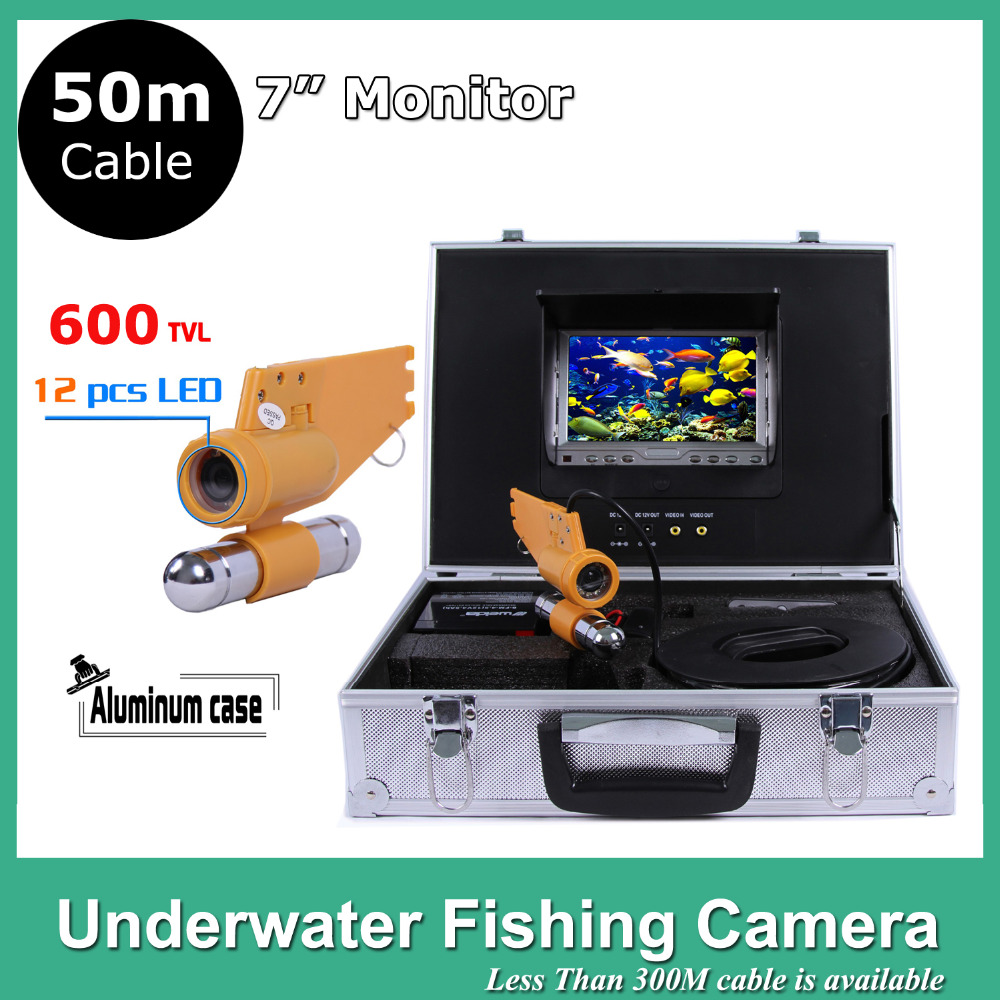 7 TFT LCD underwater fishing finder Monitor 12pcs LED Light 600TVL camera Underwater 50M Endoscope Inspection Camera 8 4inch 8 4 non touch industrial control lcd monitor vga interface white open frame metal shell tft type 4 3 800 600