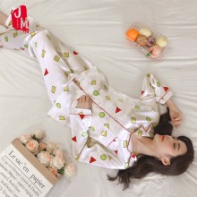 Women Silk Pajamas Set Summer Print Pyjamas Satin Long Sleeve Homewear Pijamas Suit Sleep M L XL