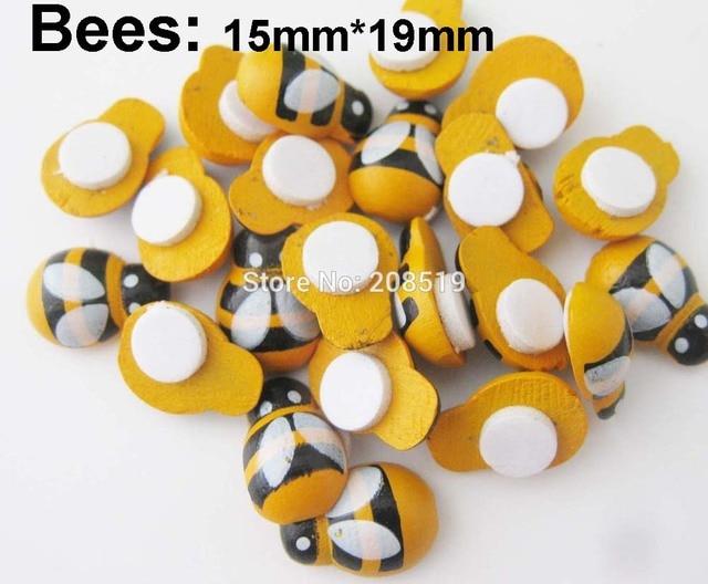 DIY craft accessories 100Pcs Ladybug Yellow Bees Self Adhesive Flatback wood Crafts Scrapbooking Decoration