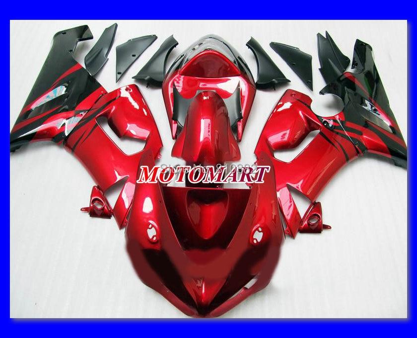 Motorcycle Fairing kit KAWASAKI Ninja ZX6R 05 06 636 2005 2006 Black hot red ABS Plastic Fairings set +7 gifts SX45 - FAIRING KIT Co. Ltd store