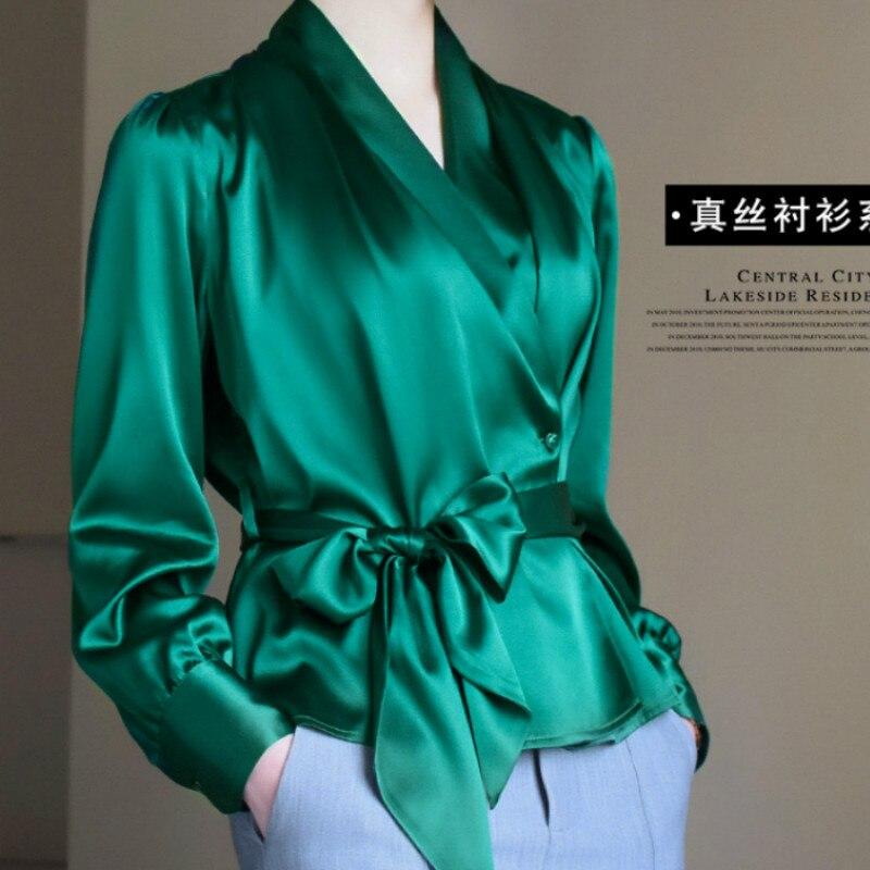 Elegant Lady V-neck Satin OL Blouses Faux Silk Shirts Waist Tie Bowtie High Waist Cardigan Long-sleeved Stitching Sashes Tops