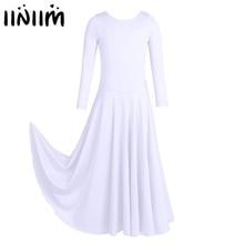 Iiniim ילדים בנות Dancewear Loose Fit בלט עכשווי ריקוד תלבושות הליטורגית טוטו שמלת התעמלות בגד גוף בלרינה