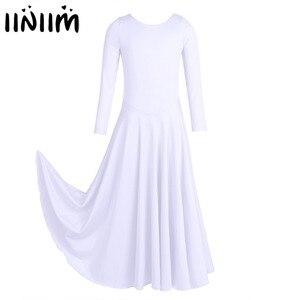 Image 1 - Iiniim Kids Girls Dancewear luźny krój balet współczesne kostiumy do tańca liturgiczne Tutu sukienka gimnastyka trykot baleriny