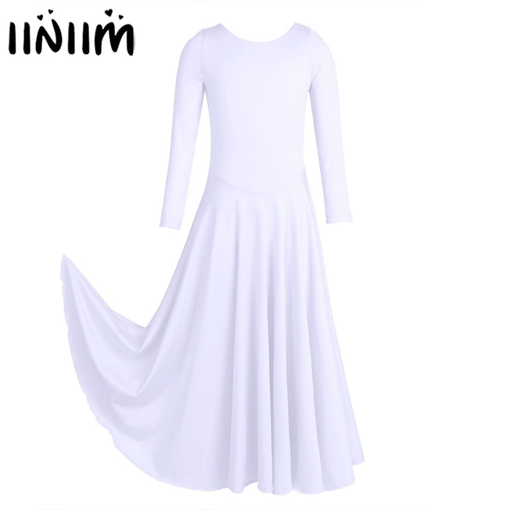 Iiniim Kids Girls Dancewear Loose Fit Ballet Contemporary Dance Costumes Liturgical Tutu Dress Gymnastics Leotard Ballerina