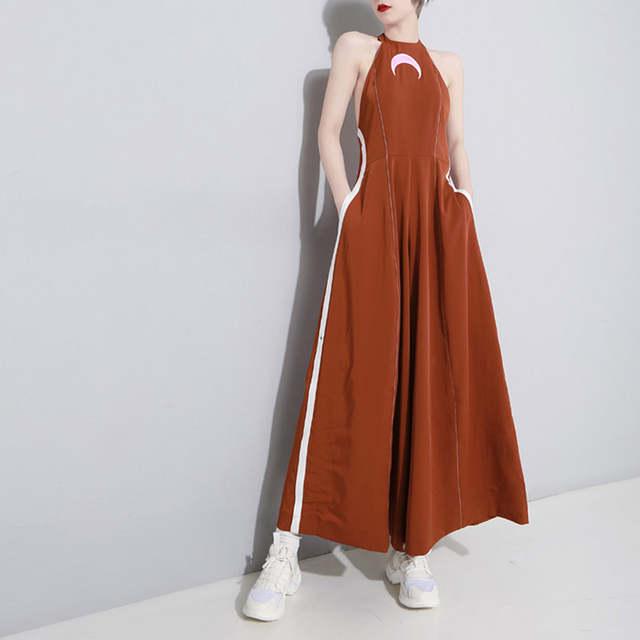 b419f082af4d5 Spring and Summer Harajuku Moon Pattern Jumpsuit Ring Wrinkled Open-backed  Bodysuit Women Couplet Pants