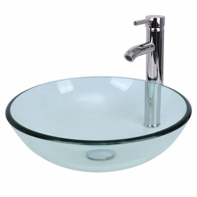 Waschtisch Glas bad klar schiff sinken wasserhahn gehärtetem glas runde waschtisch