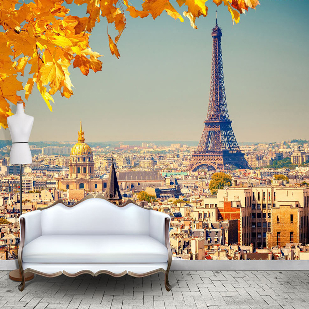 Custom 3D Photo Wall Paper Eiffel Tower European City ...  Custom 3D Photo...