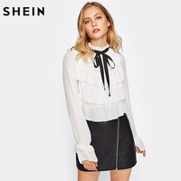 SHEIN Tiered Flounce Front Bell Cuff Elegant Blouse Womens Work Wear White Band Collar Long Sleeve Ruffle Blouse