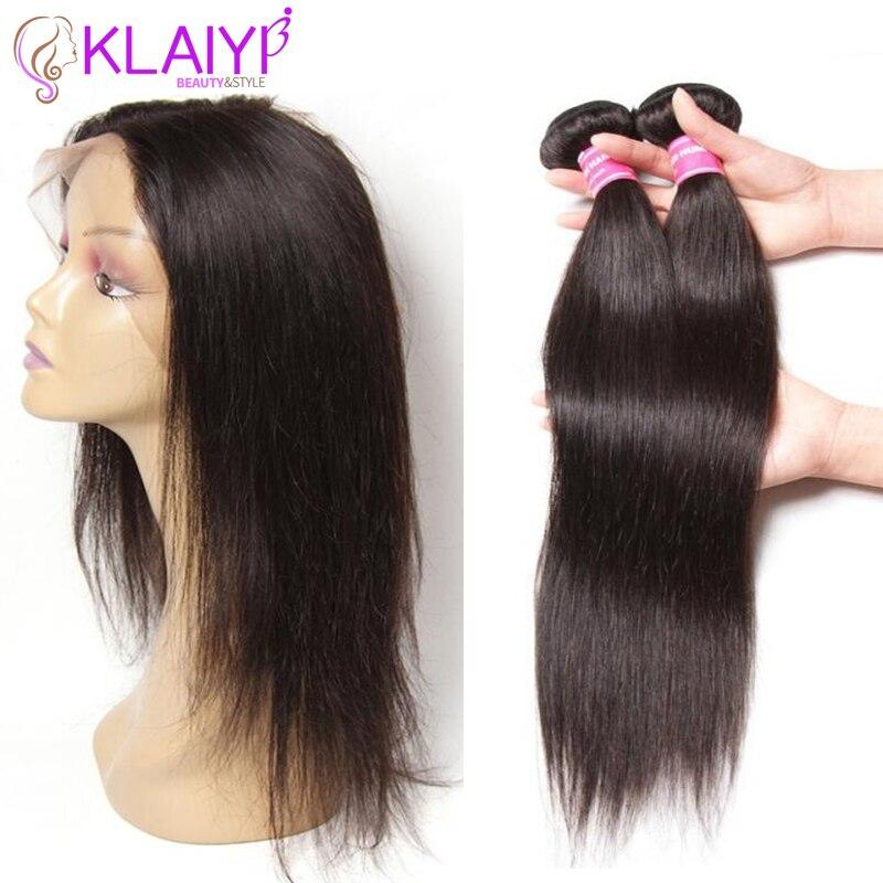 Klaiyi Hair Brazilian 360 Lace Frontal Closure With 2 Bundles Straight Human Hair Bundles With Closure