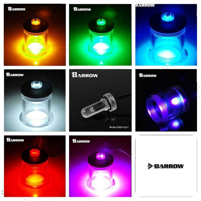 Barrow water cooler Extended Light plug Fitting for Cylinder Water tank White/Red/Blue/Green/Gold/Rose/UV/Flash heatsink gadget