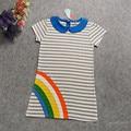 Girls Dress Summer 2017 Girls Clothes Kids Dresses for Girl robe fille enfant Short Sleeve Cotton Striped T-shirt 2T-7T
