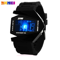 Aircraft Colorful LED Digital Wristwatches Stainless Steel Case Sports Back Light Rubber Strap Casual Jelly Watch