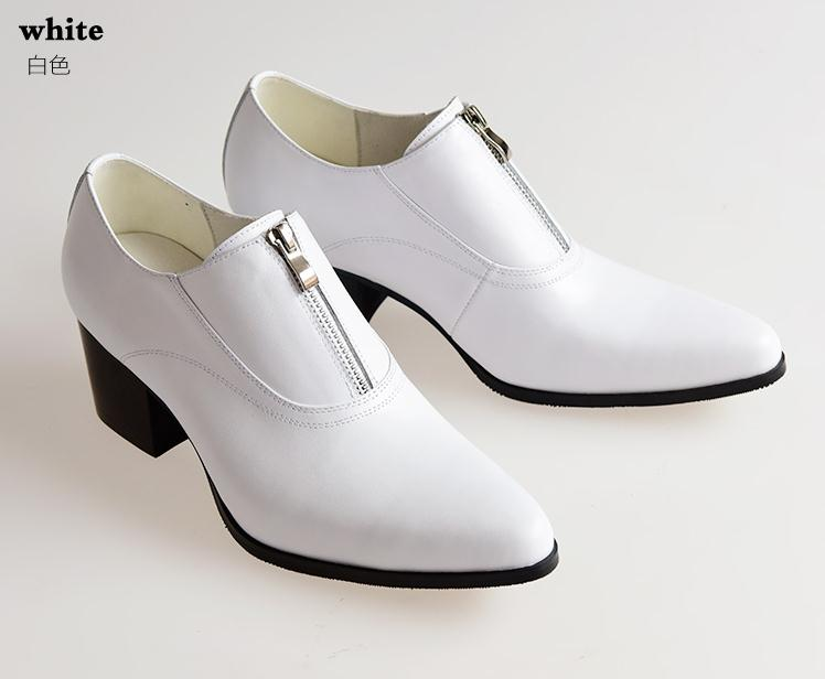 New high heels mens genuine leather career work shoes men pointed toe height increase fashion wedding shoes white black brown