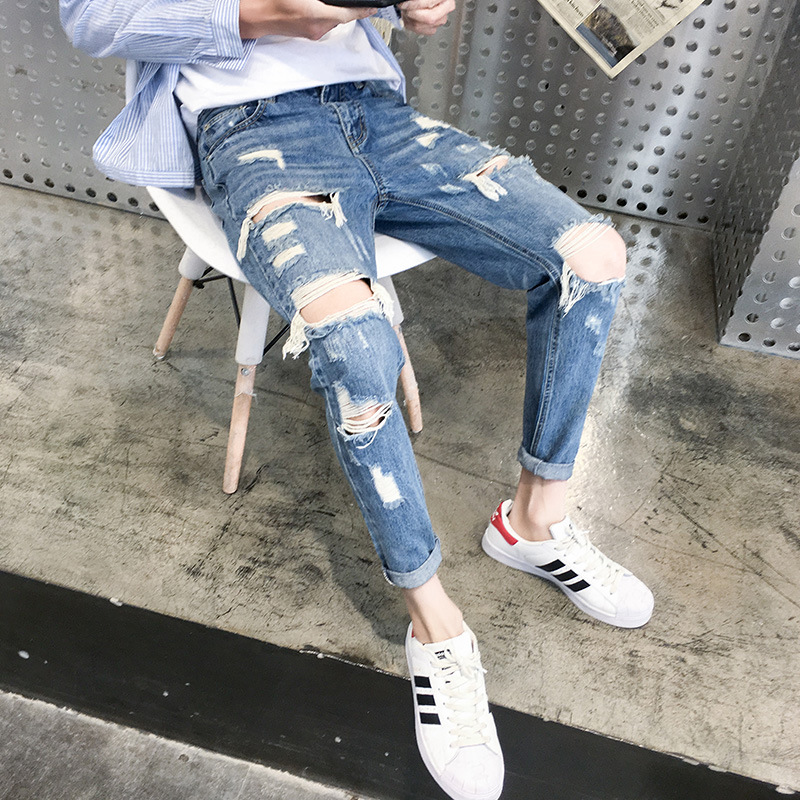 High quality 2019 Summer ripped Hole Denim Hip Hop teenagers students beggar   jeans   male hole male handsome Ankle Length pants