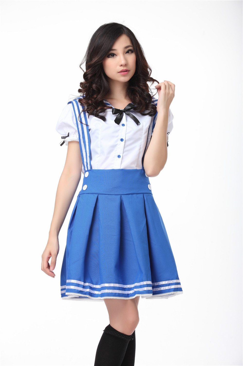 Plus Size Japanese Sailor School Uniform For Girls Lolita Dress Navy