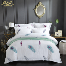 Colorful Feather Printed Luxury Bedding Set 3/4 Pieces High Quality 100% Cotton Duvet Cover Set Full Queen King Size Bed Cover