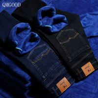QMGOOD 2017 New Winter Jeans Men S Thicker Plus Cashmere Jeans Men S Straight Business Casual
