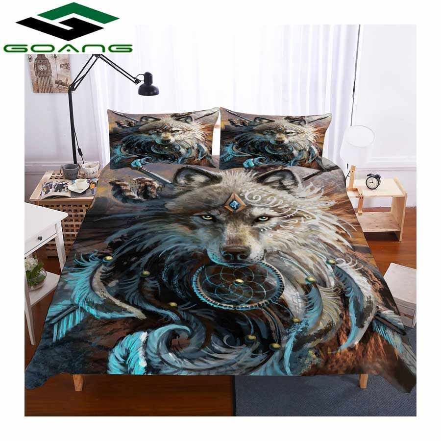 Anime wolf 3D bedding set Room decoration Duvet Covers and Pillowcases 3/4pcs Full King Size Multicolor Bed Clothes