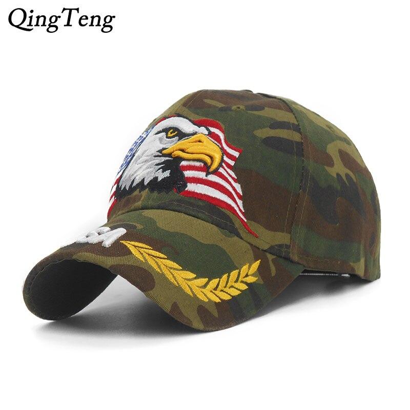 New Embroidery Eagle Camouflage   Baseball     Caps   For Men Women Outdoor Fishing Desert Hats USA Flag Army Camo   Baseball   Hats
