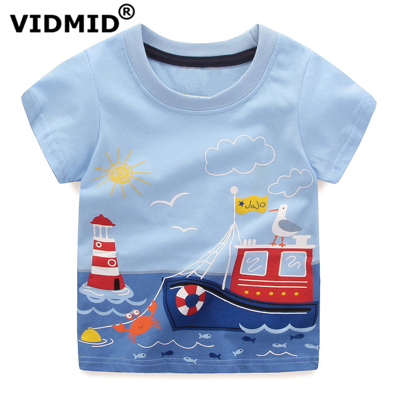 VIDMID children summer clothing baby boy T shirt cotton dinosaur short sleeve T-shirt kid boy casual sport T-shirt 2-8Y shirts