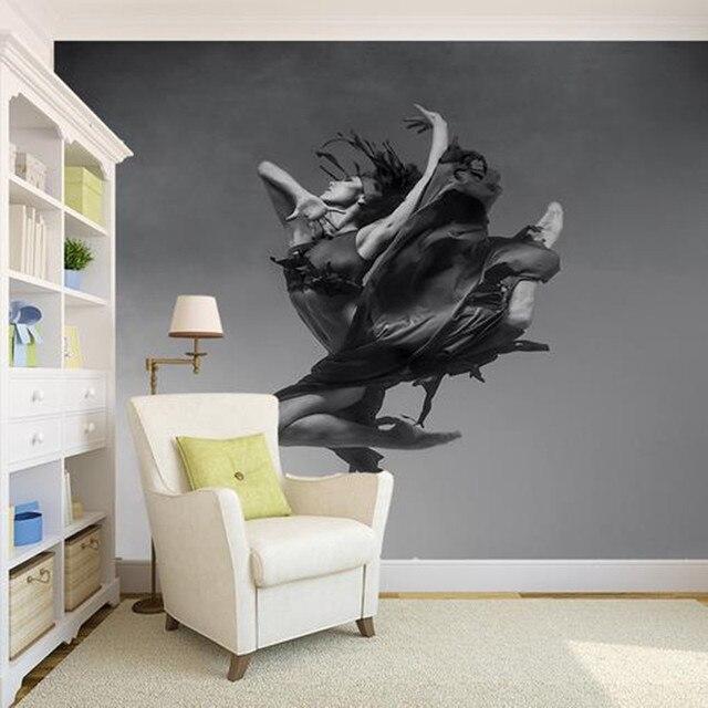 Benutzerdefinierte 3D Fototapeten Modern Schwarz Weiß Fotografie  Leinwand Wand Kunst Tänzer Wohnzimmer Schlafzimmer