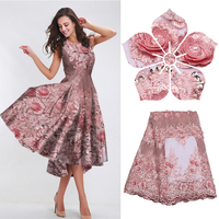 2018 New 3d Sequins Lace Fabric High Quality Bridal Wedding French Net Embroidered Mesh Beads Blush