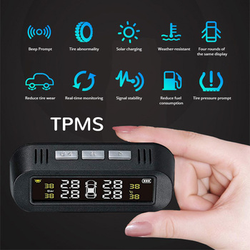 E-ACE Solar Smart TPMS Car Tire Pressure Alarm Monitor System 4 sensors  Display Intelligent Tyre Pressure Temperature Warning