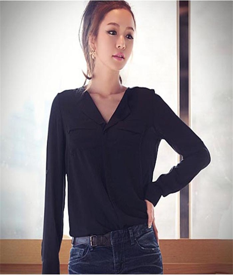 Summer 2017 Fashion Womens OL Career Shirt Long Sleeve Button Down Shirt Women Solid Chiffon Blouse blusas feminino #25