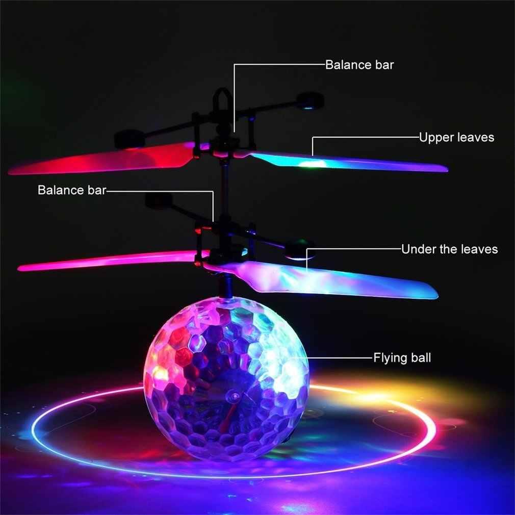 OCDAY Juguetes De La bola de la mosca parpadeante Control remoto RC helicóptero volador Quadcopter Drone LED bola de luz divertido juguete regalo para niños