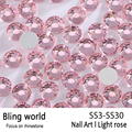 SS3-SS30 Light Rose Nail Art Rhinestones With Round Flatback For Nails Art Cell Phone And Wedding Decorations