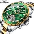 GUANQIN автоматические часы для мужчин Скелет турбийон механические часы спортивные водонепроницаемые автоматические часы мужские часы relogio ...