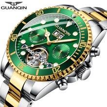 GUANQINนาฬิกาผู้ชายอัตโนมัติSkeleton Tourbillonนาฬิกากันน้ำอัตโนมัตินาฬิกาRelogio Masculino