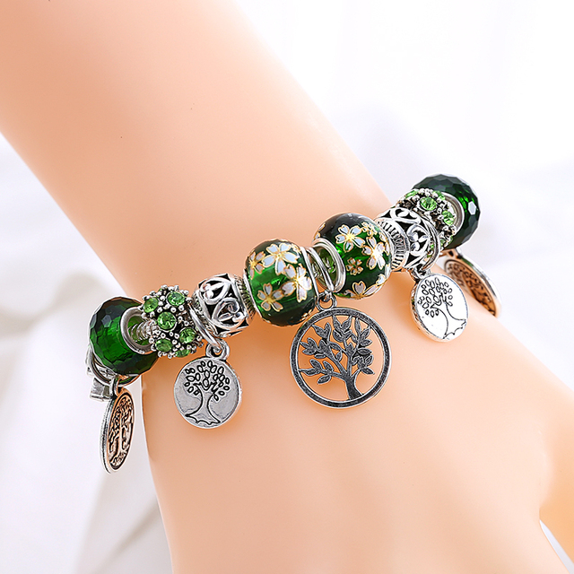 Stering 925 Silver Tree of Life Fashion Pan Bead Bracelet Green