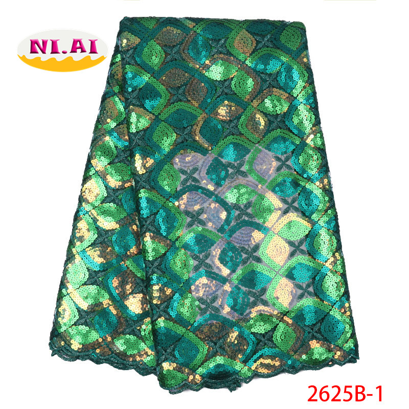 Embroidery Lace African Tulle Lace 2019 Green Bridal Lace Fabric African Oganza Sequin Lace Fabric MR2625B