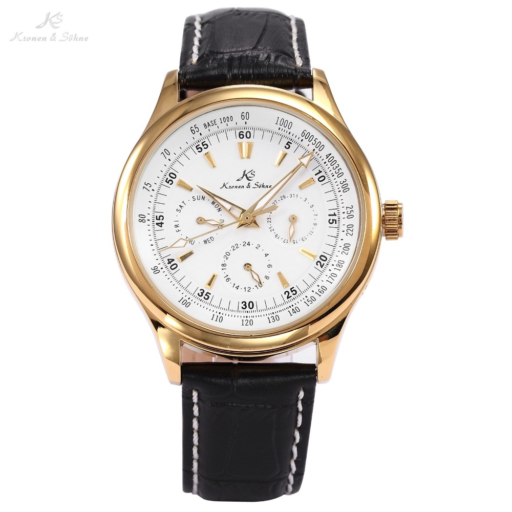 Ks Imperial Luxury Automatic Mechanical Date Day Calendar 24Hour Elegant Christmas Wrap Gift Wrist Business Men