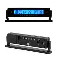 Universal 12V 24V Car Digital LCD Display Clock Indoor Outdoor Thermometer Car Battery Voltmeter Drop Shipping