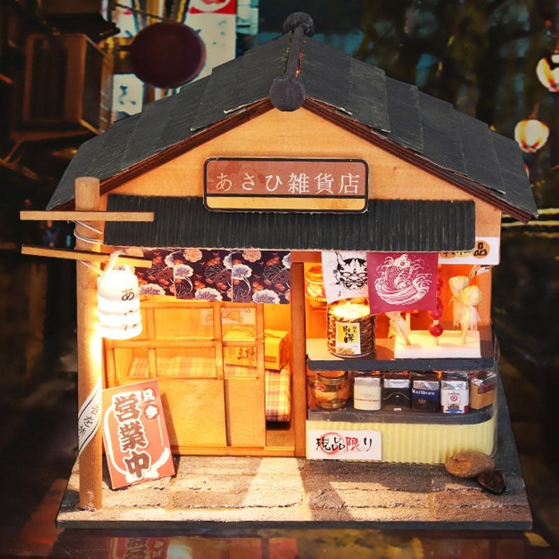 DIY DollHouse Avec Meubles 3D En Bois Jouets Miniatura maison de Poupée À La Main Mini Cadeau Pour Enfants D'épicerie Magasin D035 # E